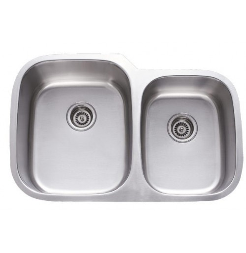 32 Inch Stainless Steel Undermount 60/40 Double Bowl Kitchen Sink - 18 Gauge