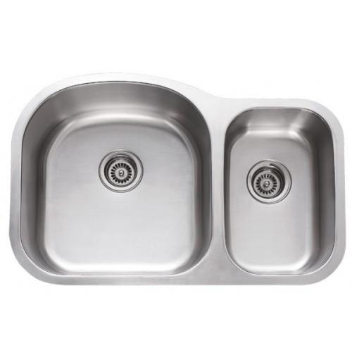 31 Inch Stainless Steel Undermount 70/30 Double Bowl Kitchen Sink - 18 Gauge