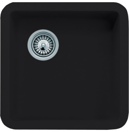 Black Quartz Composite Undermount Kitchen Sink - 14-7/8 x 14-7/8 x 7 Inch