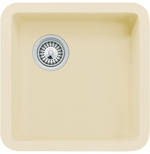 Beige Quartz Composite Composite Undermount Kitchen Sink - 14-7/8 x 14-7/8 x 7 Inch