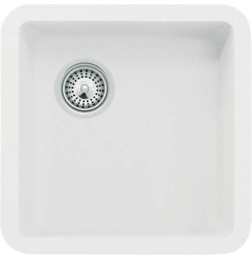 White Quartz Composite Undermount Kitchen Sink - 14-7/8 x 14-7/8 x 7 Inch