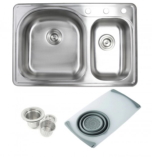 Topmount Drop-In Stainless Steel 33 in. x 22 in. 3 Faucet Hole 70/30 Offset Double Bowl Kitchen Sink w Cutting Board Colander & Strainer