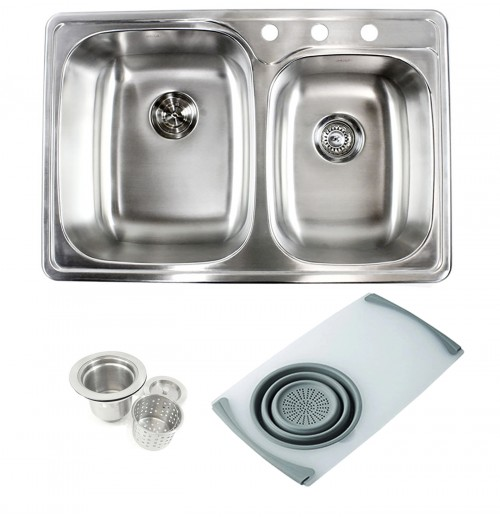 Topmount Drop-In Stainless Steel 33-1/8 in x 22 in x 9 in 3 Faucet Hole 60/40 Offset Double Bowl Kitchen Sink w Cutting Board Colander & Strainer