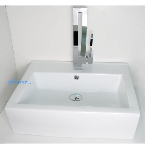 Rectangular Porcelain Ceramic Single Hole Countertop Bathroom Vessel Sink - 20-1/2 x 17 x 6 Inch