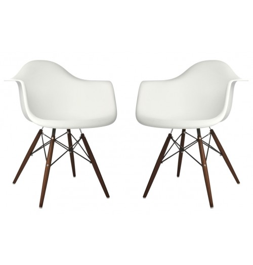 Set of 2 DAW Molded White Plastic Dining Armchair with Dark Walnut Wood Eiffel Legs
