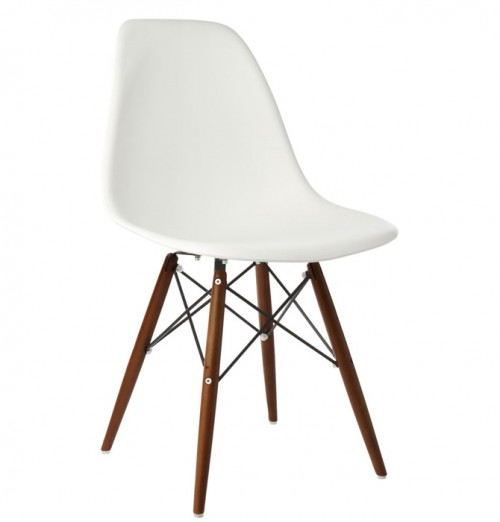 DSW Molded White Plastic Dining Shell Chair with Dark Walnut Wood Eiffel Legs