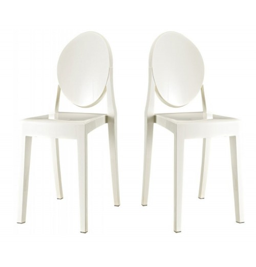 Set of 2 Victoria Style Ghost Dining Chair White Color
