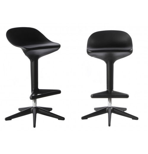 Set of 2 Citterio Style ABS Hydraulic Adjustable Spoon Stool Black Color