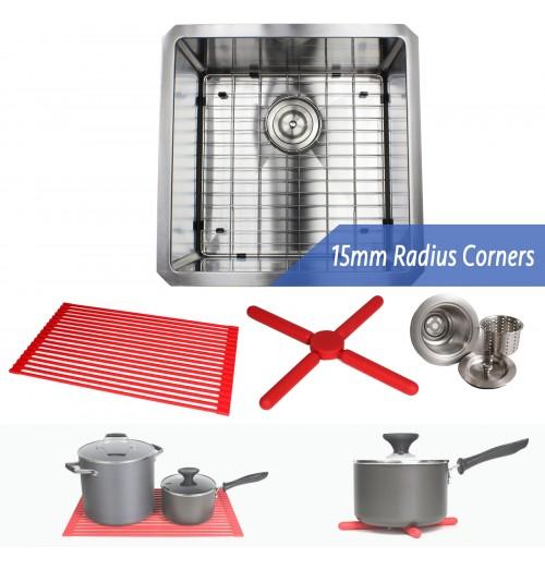 18 Inch 16 Gauge Undermount Single Bowl Stainless Steel Sink Premium Package 15mm Radius Design