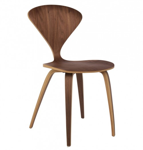 Cherner Style Plywood Walnut Wooden Dining Side Chair