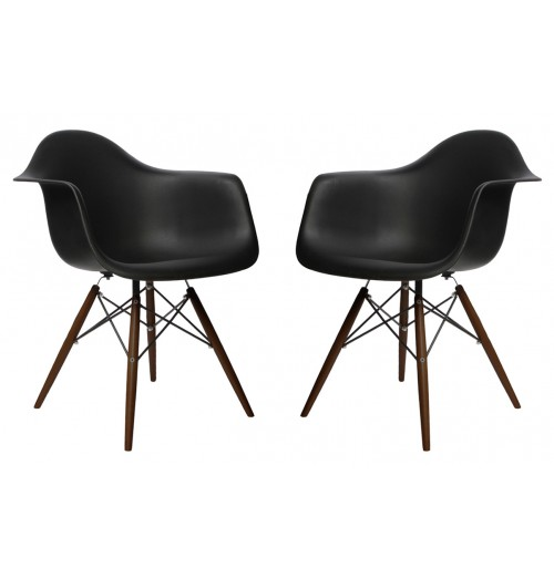 Set of 2 DAW Molded Black Plastic Dining Armchair with Dark Walnut Wood Eiffel Legs