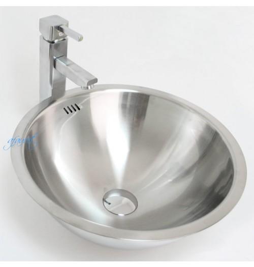 Round 18 Gauge Stainless Steel Drop-in / Undermount / Countertop Bathroom Vessel Sink - 16-1/4 x 7 Inch