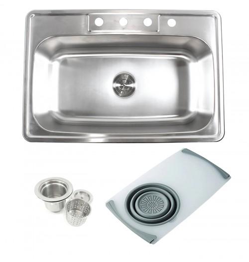 Topmount Drop-In 18-Gauge Stainless Steel 33 in. x 22 in. x 9 in. 4 Faucet Hole Single Bowl Kitchen Sink w Cutting Board Colander & Strainer