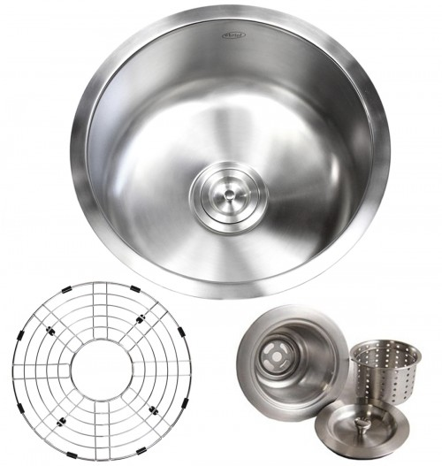 17 Inch Stainless Steel Undermount Single Bowl Kitchen / Bar / Prep Sink Round - 16 Gauge FREE ACCESSORIES