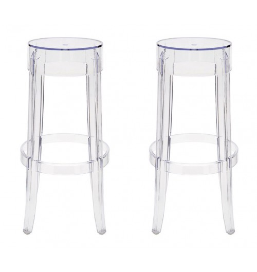 Set of 2 Victoria Style Ghost Bar Stool Clear Color