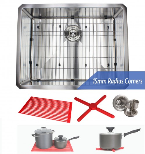 26 Inch 16 Gauge Undermount Single Bowl Stainless Steel Sink Premium Package 15mm Radius Design