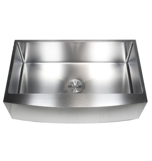 36 Inch Stainless Steel Curved Front Farm Apron Single Bowl Kitchen Sink 15mm Radius Design