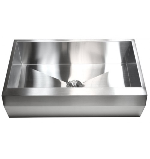 36 Inch Stainless Steel Single Bowl Zero Radius Well Angled Design Farm Apron Kitchen Sink 16 Gauge