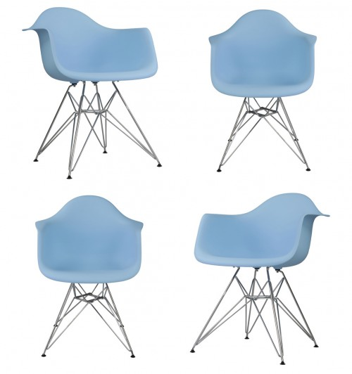 Set of 4 DAR Molded Light Blue Plastic Dining Armchair with Steel Eiffel Legs
