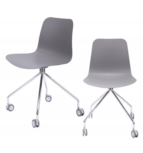 Hebe Series Gray Office Chair Molded Plastic Designer Task Chair