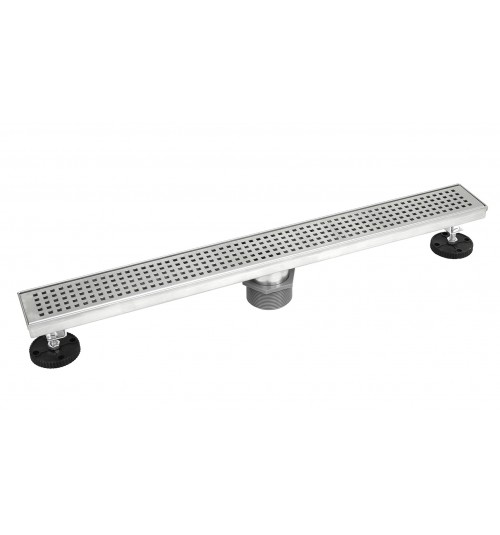 Shower Linear Drain 18 Inch – Square Checker Pattern Grate – Brushed 304 Stainless Steel – Threaded Adaptor Included – Adjustable Leveling Feet