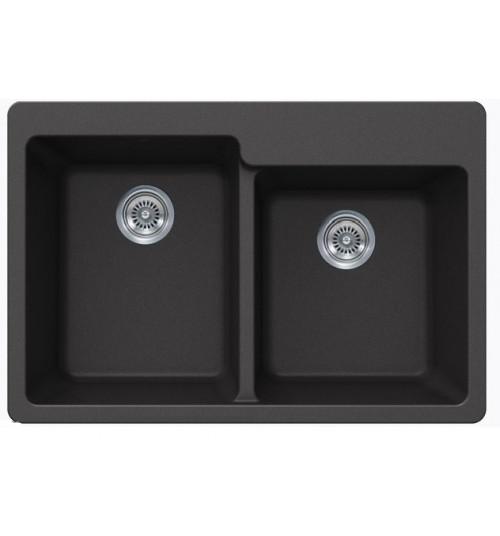 Black Quartz Composite 60/40 Double Bowl Undermount / Drop In Kitchen Sink - 33-1/16 x 22 x 9-3/4 Inch