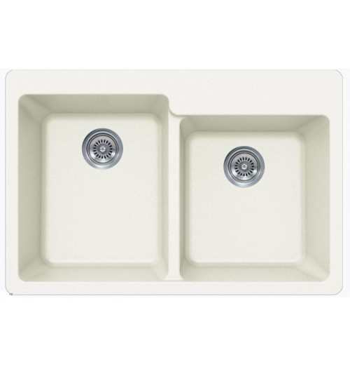 White Quartz Composite 60/40 Double Bowl Undermount / Drop In Kitchen Sink - 33-1/16 x 22 x 9-3/4 Inch