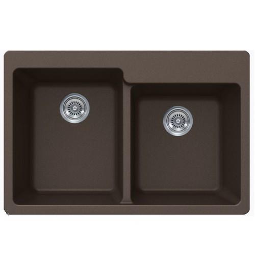 Mocha Quartz Composite 60/40 Double Bowl Undermount / Drop In Kitchen Sink - 33-1/16 x 22 x 9-3/4 Inch