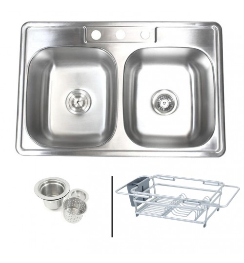 Topmount Drop-In 18-Gauge Stainless Steel 33-1/8 in. x 22 in. x 9 in. 3 Faucet Hole 50/50 Double Bowl Kitchen Sink with Expandable Dish Rack and Strainer