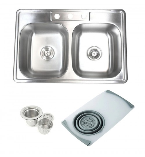 Topmount Drop-In Stainless Steel 33-1/8 in. x 22 in. x 9 in. 3 Faucet Hole 50/50 Double Bowl Kitchen Sink w Cutting Board Colander & Strainer