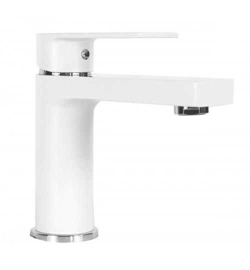 Anna Matte White Chrome Bathroom Vessel Sink Single Hole Faucet