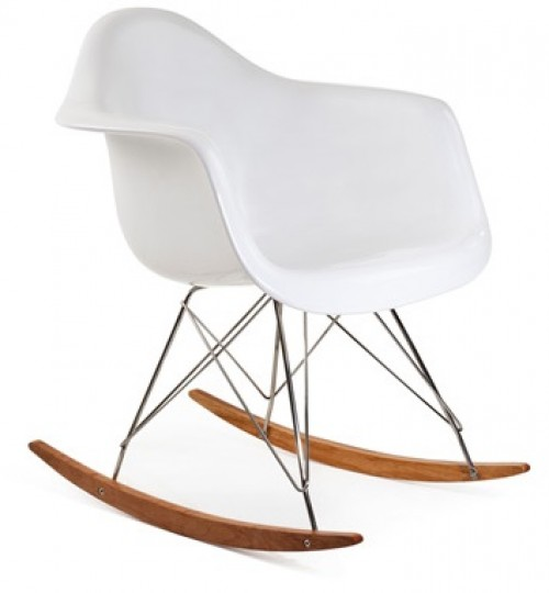 RAR Molded White Plastic Rocking Chair with Steel Eiffel Legs