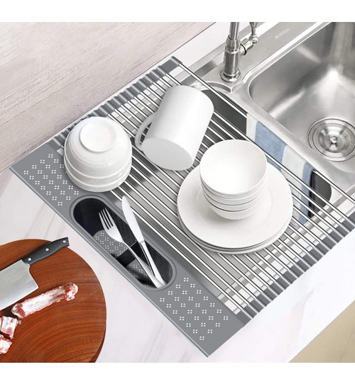 CozyBlock Stainless Steel Foldable Dish Drying Rack with Detachable Utensil Holder- Multipurpose Roll Up Over the Kitchen Sink Dish Rack