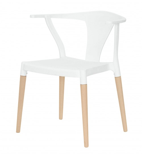 Icon Series White Modern Accent Dining Arm Chair Beech Wood Legs