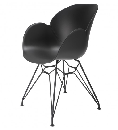 Flora Black Modern Accent Dining Chair with Black Steel Legs