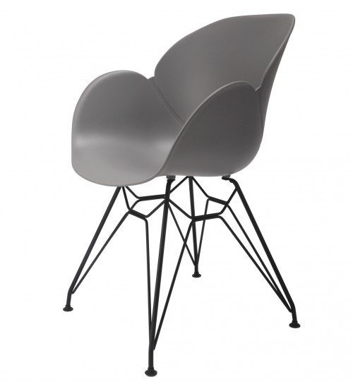 Flora Gray Modern Accent Dining Chair with Black Steel Legs