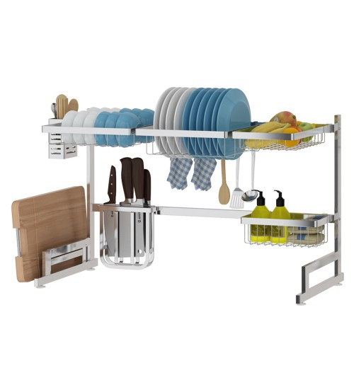 "33.5"" Stainless Steel Dish Drying Rack Over Kitchen Sink, Dishes and Utensils Draining Shelf, Kitchen Storage Countertop Organizer, Utensils Holder, Kitchen Space Saver, All in One Dishes Washing Solution (Sink <32"")"
