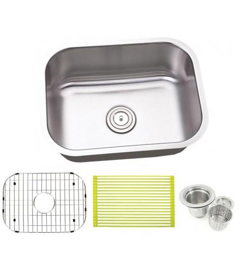 23 Inch Stainless Steel Undermount Single Bowl Kitchen Sink - 16 Gauge FREE ACCESSORIES