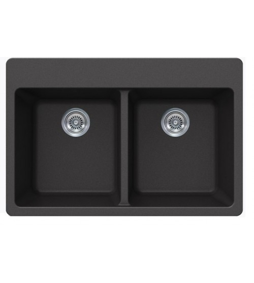 Black Quartz Composite Double Bowl Undermount / Drop In Kitchen Sink - 33 x 22 x 9 Inch