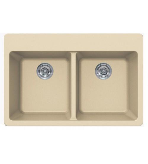 Beige Quartz Composite Double Bowl Undermount / Drop In Kitchen Sink - 33 x 22 x 9 Inch