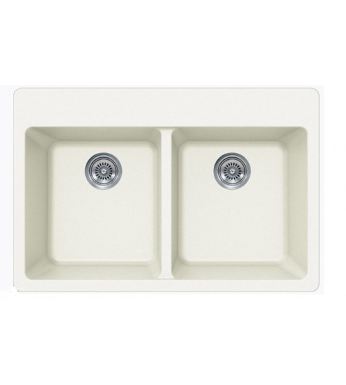 White Quartz Composite Double Bowl Undermount / Drop In Kitchen Sink - 33 x 22 x 9 Inch
