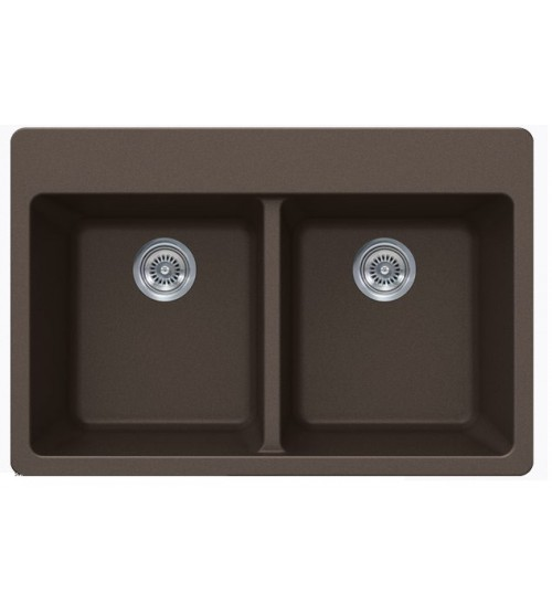 Mocha Quartz Composite Double Bowl Undermount / Drop In Kitchen Sink - 33 x 22 x 9 Inch