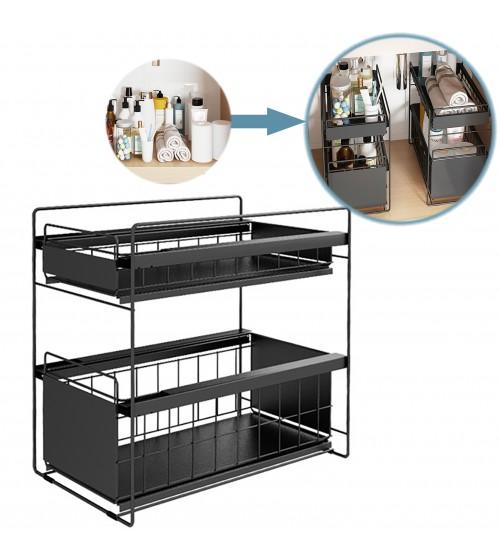 Black Steel Under Sink Organizer and Storage | Bathroom & Kitchen Under Sink Organizer | Sliding Under Sink Drawer | Cleaning Supplies Under Sink Storage | 2-Tier Countertop Organize Rack