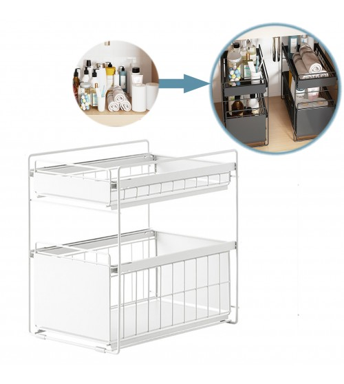 White Steel Narrow Under Sink Organizer and Storage | Bathroom & Kitchen Under Sink Organizer | Sliding Under Sink Drawer | Cleaning Supplies Under Sink Storage | 2-Tier Countertop Organize Rack