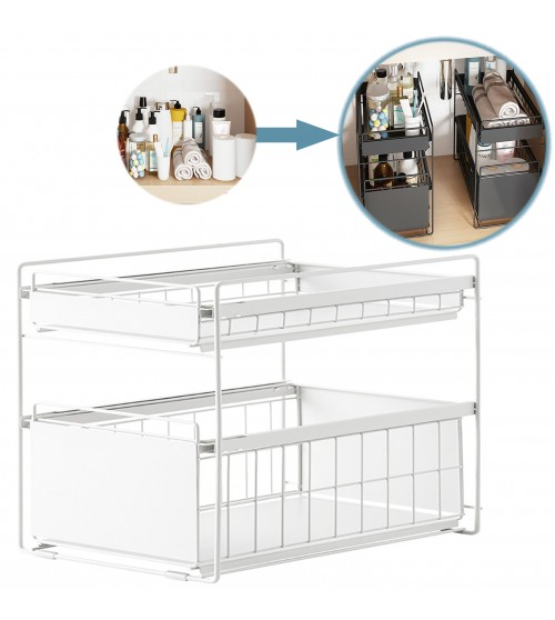 White Steel Under Sink Organizer and Storage | Bathroom & Kitchen Under Sink Organizer | Sliding Under Sink Drawer | Cleaning Supplies Under Sink Storage | 2-tier Countertop Organize Rack