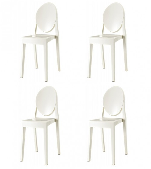 Set of 4 Victoria Style Ghost Dining Chair White Color