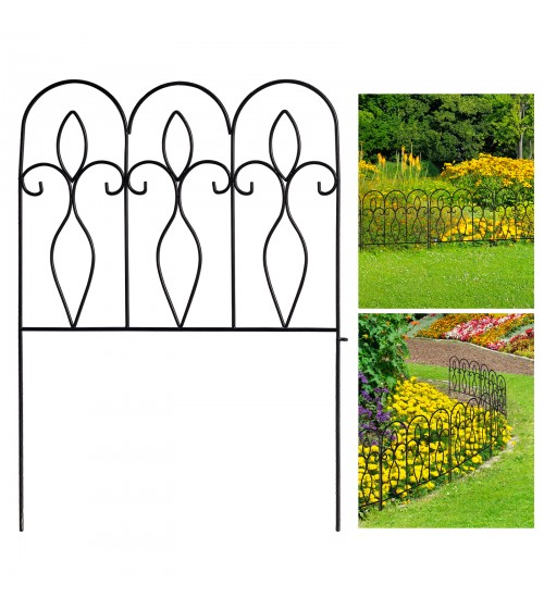CozyBlock Steel Garden Decorative Outdoor Fence, Great for Patio, Animal Borders, Vegetation, Outdoor Landscaping (Pack of 10 feet)