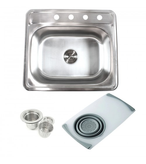 Topmount Drop-In 18-Gauge Stainless Steel 25 in. x 22 in. x 9 in. 4 Faucet Hole Single Bowl Kitchen Sink w Cutting Board Colander & Strainer