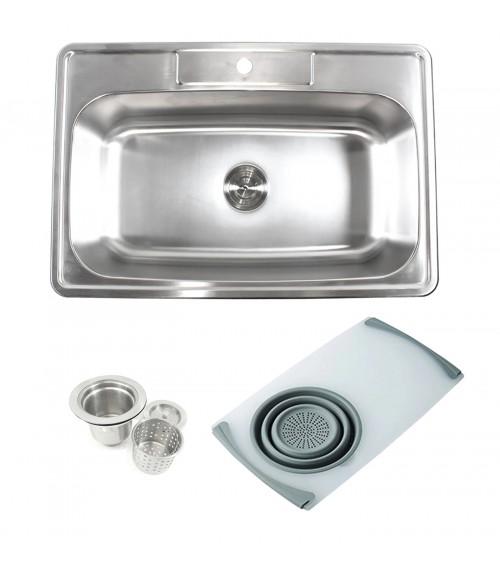 Topmount Drop-In 18-Gauge Stainless Steel 33 in. x 22 in. x 9 in. 1 Faucet Hole Single Bowl Kitchen Sink w Cutting Board Colander & Strainer