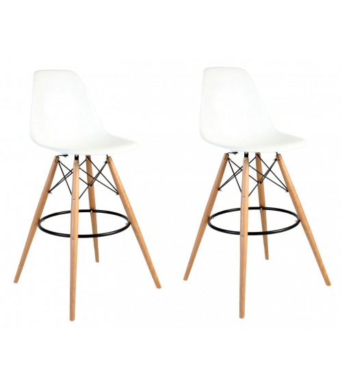 Set of 2 30 Inch DSW White Plastic Bar Stool with Wood Eiffel Legs